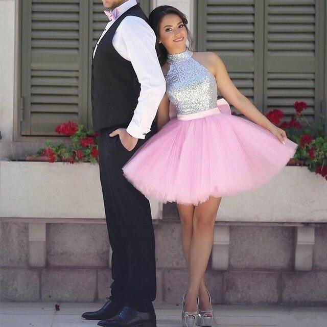 Encanto Lentejuelas Halter Vestidos de Fiesta Rosa de Tul Vestidos ...