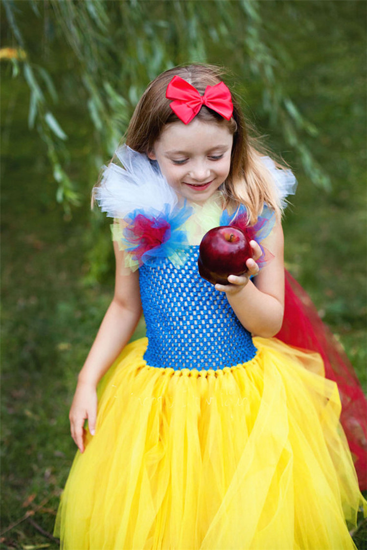 Hot Sale Halloween Costumes Tutu Birthday Party Children Snow White Dress Clothing Princess Cosplay Kids Girl Costumes Carnival hot sale halloween cosplay costume for women snow white princess black wigs free shipping