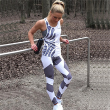 Geometry Printing Leggings Put Hip Elastic High Waist Legging Breathable Slim Pants