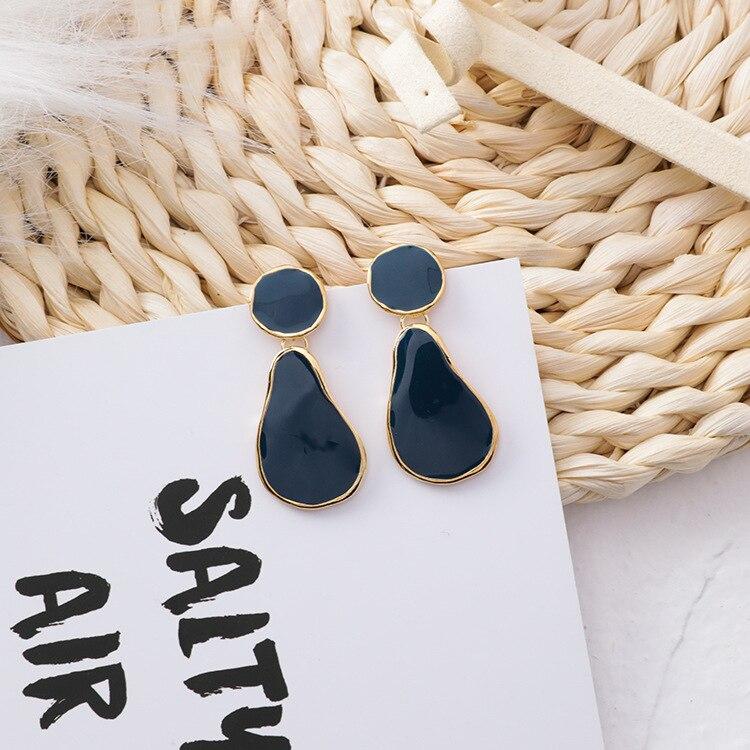 MENGJIQIAO 19 Korean New Vintage Geometric Irregular Square Water Drop Enamel Asymmetric Earrings For Women Fashion Oorbellen 7