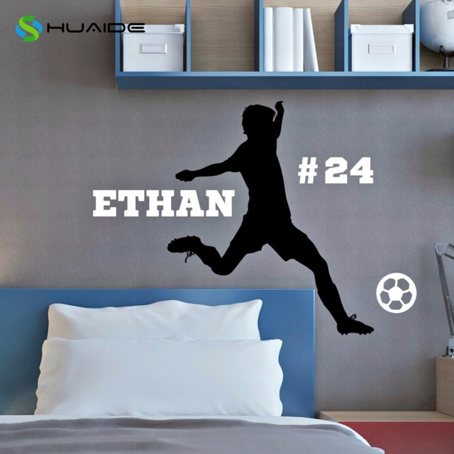 Personalized soccer player wall decal custom name number boys youth wall sticker for bedroom living
