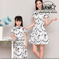 Mother Daughter Family Matching Dress Casual Organza Dress Ballet Print Children Clothing Party Dress Summer 2016 Sale