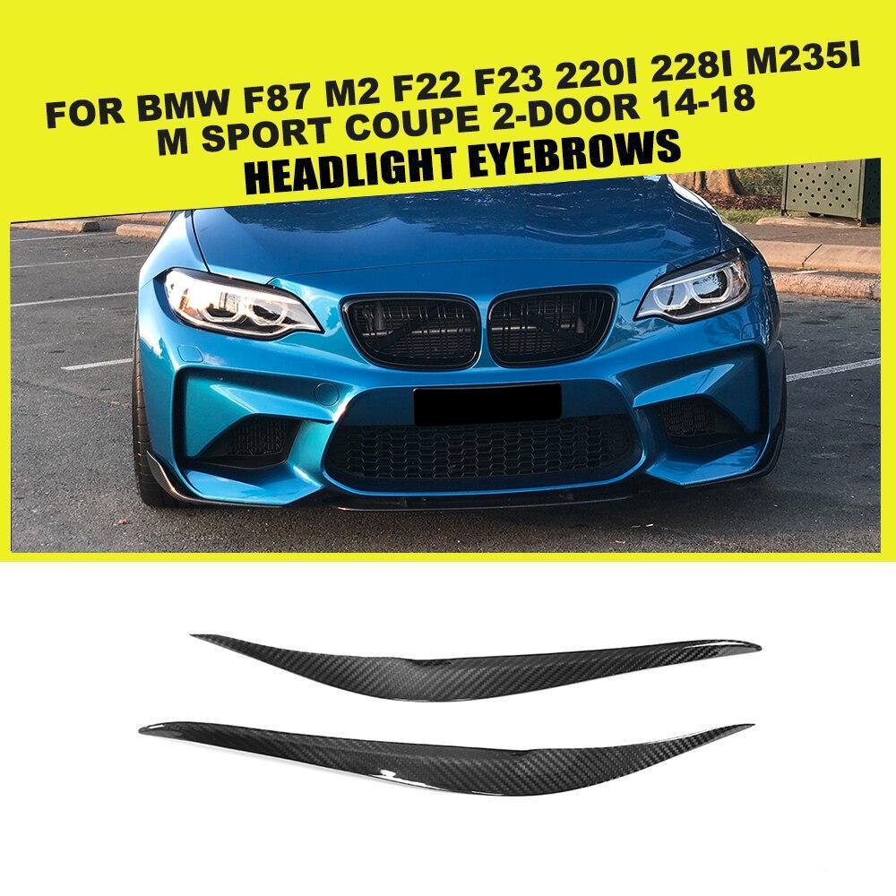 Seco Fibra De Carbono Farol Sobrancelhas Pálpebras para BMW F87 M2 F22 F23 220i 228i M235i M140i M Sport Coupe 2 -porta 14-18 Acessórios
