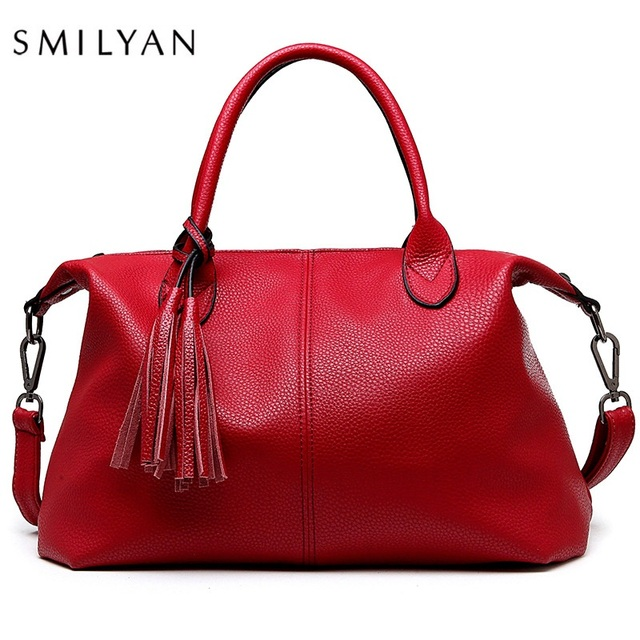 8d0d47deabc63 SMILYAN Genuine Leather Women Boston Bag handbags High Quality Good  designer bags Tassel shoulder bag leather Ladies Bags New