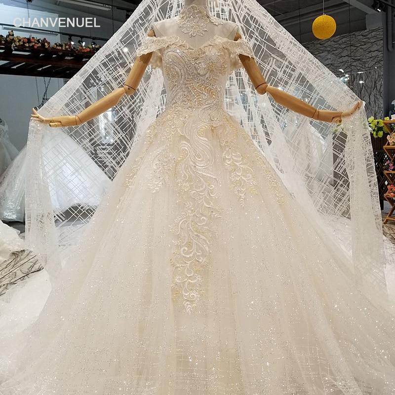 LS367444 Золотой Кружева просто блестящий торжественное платье с кружевом ожерелье с открытыми плечами милая свадебное торжественное платье с