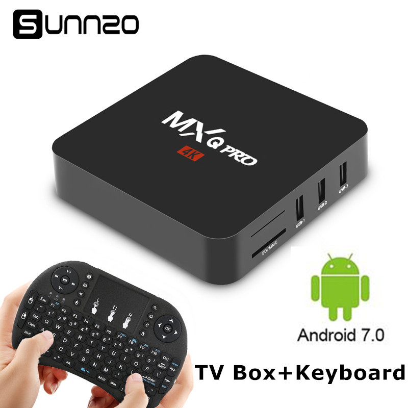 Smart TV Box Android 7.1 MXQ Pro TV BOX 1GB 8GB Quad Core 2.4GHz WiFi Stream Media Player Set Top Box With Wireless Keyboard стоимость