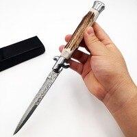 Italian 11 Mafia Folding knife Damascus Blade Antler Handle Tactical Pocket Knives Multi Camping Survival Quickly Open EDC Tool