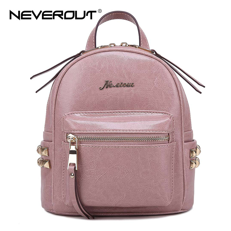 NeverOut New Famous Brand Split Leather Backpack Lady Vintage Backpacks Oil Wax School Bags Female Women Zipper Travel Backpacks british style leather backpack school bag oil wax cowhide black women travel backpacks rucksack ladies double shoulder bags