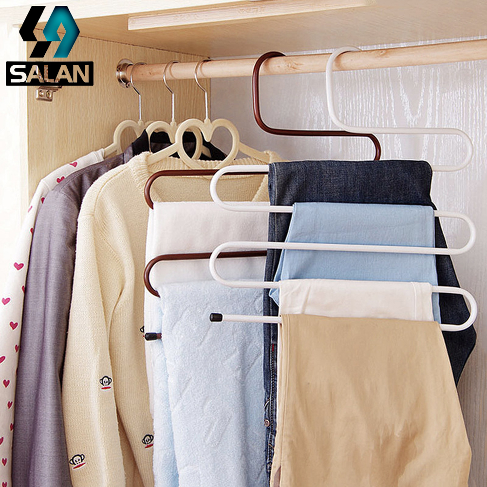 Multifunctional S-type magic iron trousers multi-layer non-slip black and white brown trousers rack Wrought iron bent wardrobe s