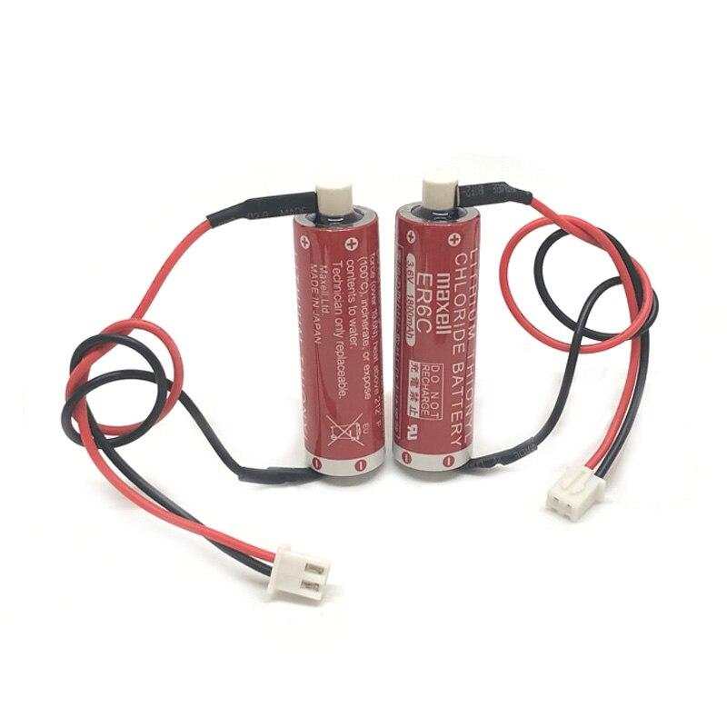 10 pçs/lote Nova Versão Original MAXELL AA 14500 Baterias ER6C 3.6 V PLC Bateria De Lítio Com Dois-Buraco Branco plugue