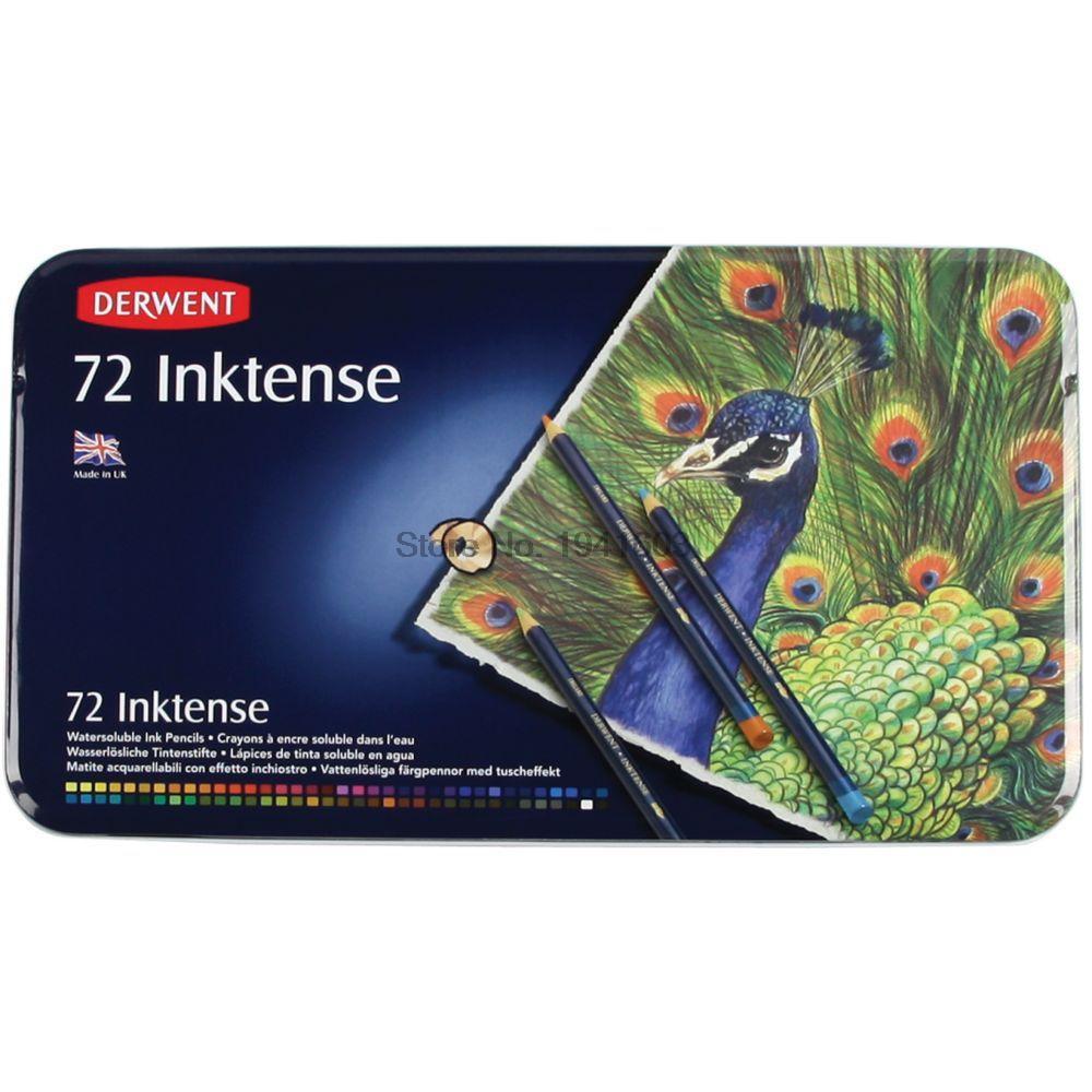 72 pcs set 72 inktense derwent lapis lata set lapis soluvel para a pintura rotulador