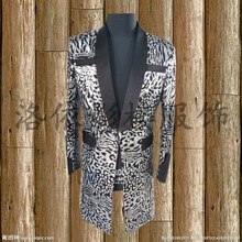 mens stage performance silver fullsequined leopard tuxedo jacket stage wear/singing/bar/event/club/performance acket