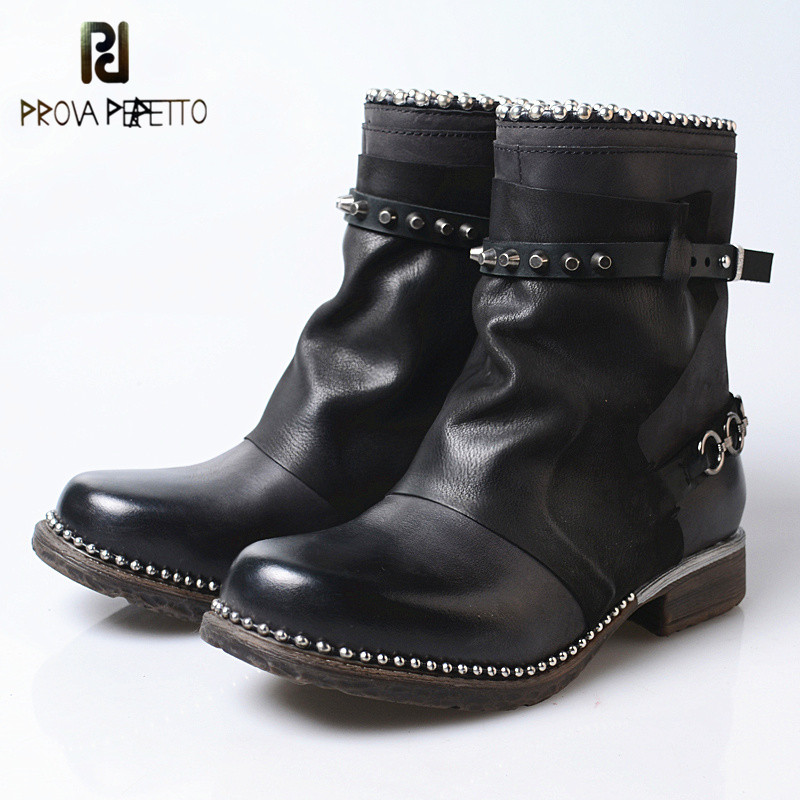 Prova perfetto 2018 Punk Style New Cow Leather Woman Short Boots Black Solid Color Sheepskin Retro Comfortable Rivet BootsProva perfetto 2018 Punk Style New Cow Leather Woman Short Boots Black Solid Color Sheepskin Retro Comfortable Rivet Boots