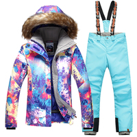 New FREE SHIPPING Gsou Snow Women winter clothing skiing jacket+pant snow suit 20 30 DEGREE woman ski suit size XS L