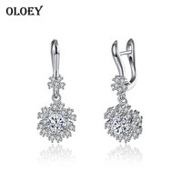 OLOEY Snowflake Clip Earrings Women Real 925 Sterling Silver Zircon Wedding Earring Brinco Fine Jewelry Christmas Gift YME056