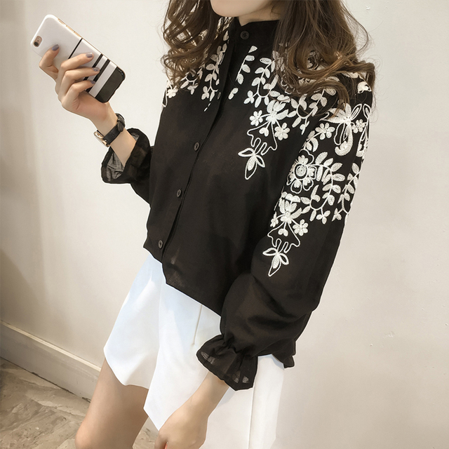 2018 Fashion Female Clothing Embroidery Blouse Shirt Cotton Korean Flower Embroidered Tops Korean Style Fresh shirt 529E 25 2