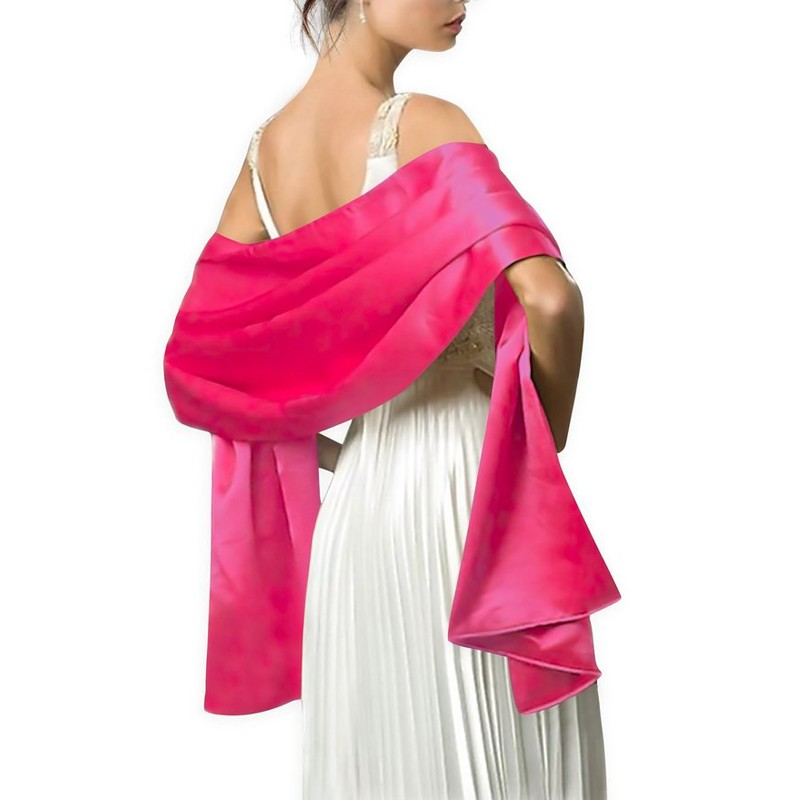 2018 Satin Shawl Scarf for Women Evening Dresses 178 46cm Long Party Colorfully Hijab Custom made Color Available in Wedding Jackets Wrap from Weddings Events