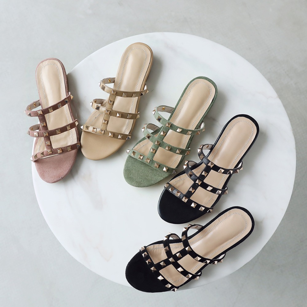 2019 Summer Style Slippers Shoes Women Sandals Shining Rivet High Quality Real Leather Fashion Casual Slippers