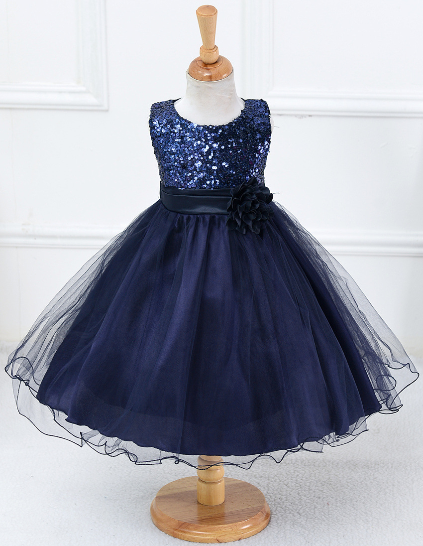 da371121a94c Flower girl dresses sequined with belt children christmas costumes ...