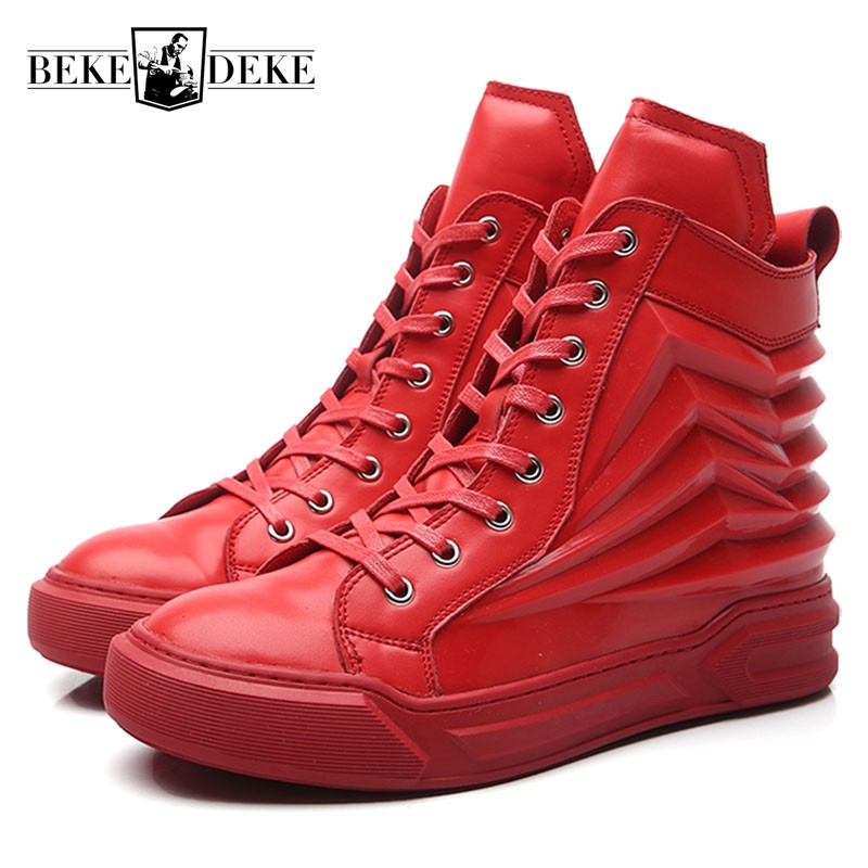 2018 New Men High Top Hip Hop Shoes Genuine Leather Trainer Sneakers Street Dancing Footwear Male Lace Up Skateboard Shoes Red adboov fashion camo sneakers men hip hop shark low top skateboarding shoes lace up street leather casual shoes flats