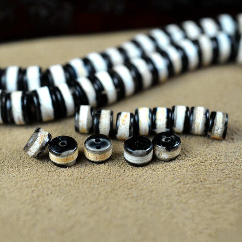 Single Line Beads: TSB0471 Tibet One Line Medicine Dzi Beads 8mm 10mm 10beads