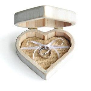 Image 4 - חתונת לב לבן בציר תיבת טבעת, אישית עץ טבעת נישואים תיבת כרית, תיבה מחזיק טבעת חתונה כפרית