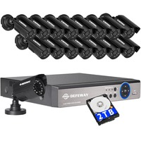 DEFEWAY 1200TVL 720P HD Outdoor CCTV Security Camera System 1080N Home Video Surveillance DVR Kit 2TB