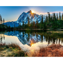 ArtSailing painting by numbers nature scenery lake mountain tree modular with frame Poster NP-477