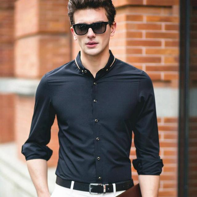 2017 Весной Новый Мужские Рубашки С Длинным Рукавом Твердые Slim Fit мужская Одежда Бренда Clothing Бамбуковое Волокно Мужчины Платье Бизнес Рубашка MCL029