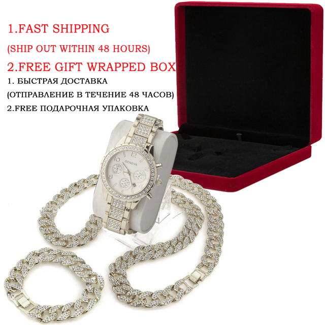 3 Pcs / Set Blingbling Hip Hop Shining stones Watch and Necklace 1
