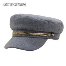 Military Cap Hat Female Winter Hats For Women Men Ladies Army Militar Pu Leather Visor Black Sailor