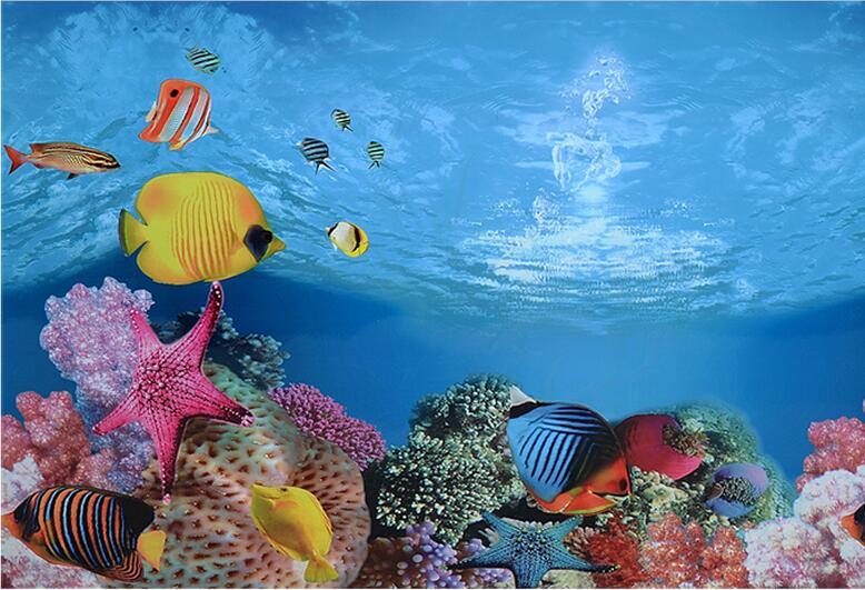 9094 15 meters roll glossy double sided fish tank poster for Agora decoration