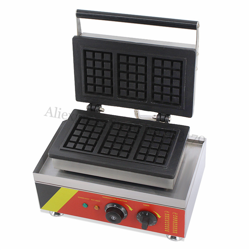Commercial Rectangle Waffle Machine Stainless Steel Belgium Waffle Baker Maker 3 pcs in One Tray 220V 110V 220v waffle maker iron machine baker commercial belgium egg jam waffle maker for sale
