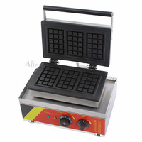 Commercial Rectangle Waffle Machine Stainless Steel Belgium Waffle Baker Maker 3 Pcs In One Tray 220V