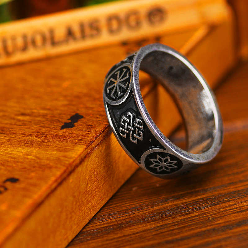 Slavic Amulet Ring Molvinets Ladinets Alatyr Heavenly Cross Ring Bague Anel Viking Jewelry
