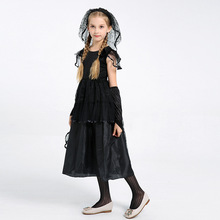 c3aa86e2f5 Niños de disfraces de Halloween negro velo niña bruja novia niños bruja  trajes