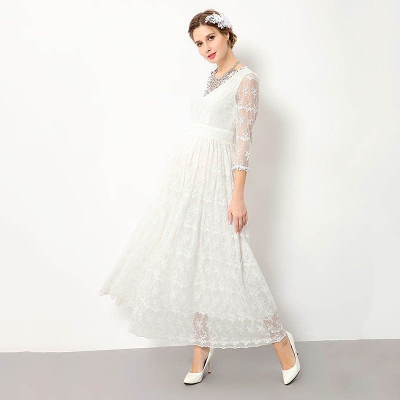 Maternity Dress 2017 New Fashion Style Maternity Three Quarter Sleeve Lace Mid-Calf Dress V-neck Bohemian Style Party Dresses solid au750 gold ring band lady s little finger ring cute ring