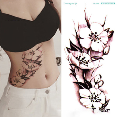 Temporary Tattoo Sticker Waterproof Sexy Flower Rose Fake Tatoo Tatouage Flash Tatto Hand Foot Arm Belly For Women Girl Female