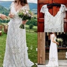 Vestidos de novia Пляжное свадебное платье в стиле бохо кружевные