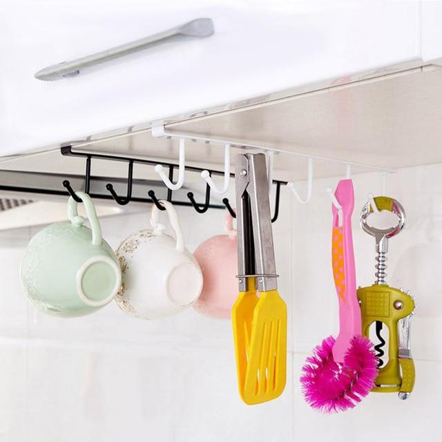 6 Kait Dapur Rak Penyimpanan Lemari Besi Menggantung Peralatan Masak Hidangan Mug Gantungan