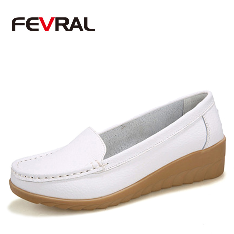 FEVRAL Plus Size Woman Shoes Fashion Soft Leather Woman Flats Slip On Summer Woman Shoes Casual Comfort Loafers Female Shoes cresfimix zapatos women cute flat shoes lady spring and summer pu leather flats female casual soft comfortable slip on shoes