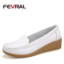 FEVRAL Plus Size Woman Shoes Fashion Soft Leather Woman Flats Slip On Summer Woman Shoes Casual Comfort Loafers Female Shoes