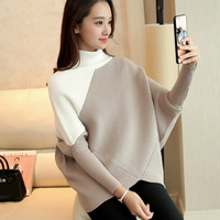 2017 Korean Autumn Choker Student New Pattern Bat Sleeve Pullover Thickening Sweater Patchwork Woman Easy Rendering