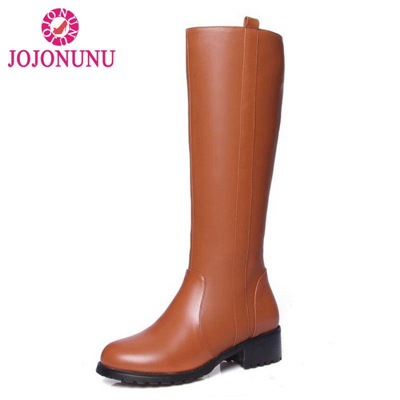 JOJONUNU Size 33-44 Sexy Women Real Leather Knee Boots Square Heel Shoes Fashion Female Zipper Shoes Winter Boots Women Shoes vintage women genuine real leather knee boots winter boot sexy square heel round toe zipper fashion women boots shoes size 33 40