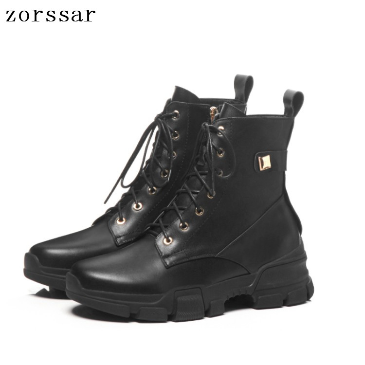 {Zorssar} 2019 Genuine leather flat women martin boots winter warm shoes botas female ankle motorcycle boots women botas mujer flat with genuine leather women martin boots winter warm shoes botas feminina female motorcycle ankle fashion boots women botas