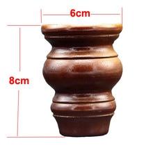 4 peças/lote H: 8x6.5 centímetros de Madeira Maciça Móveis TV Armário de Madeira De Borracha Pé Pernas da Mesa de Chá