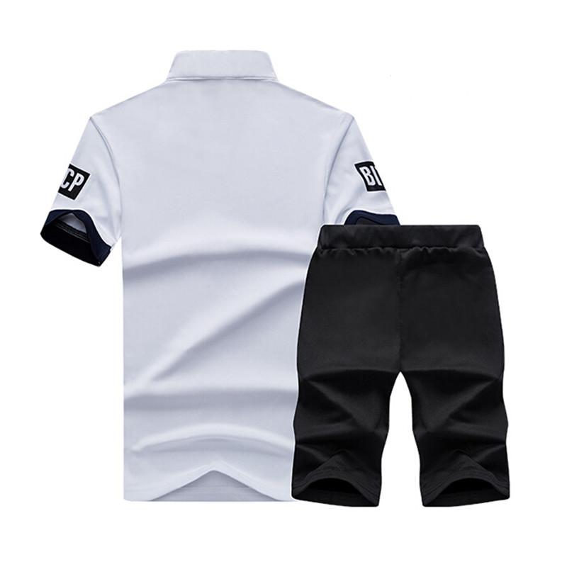 2 Pieces T-shirt Shorts Tracksuit Sport suits Set Men 2018 Brand Fitness Suits Summer 2PC Top Short Set Mens Stand Collar Fashion 6