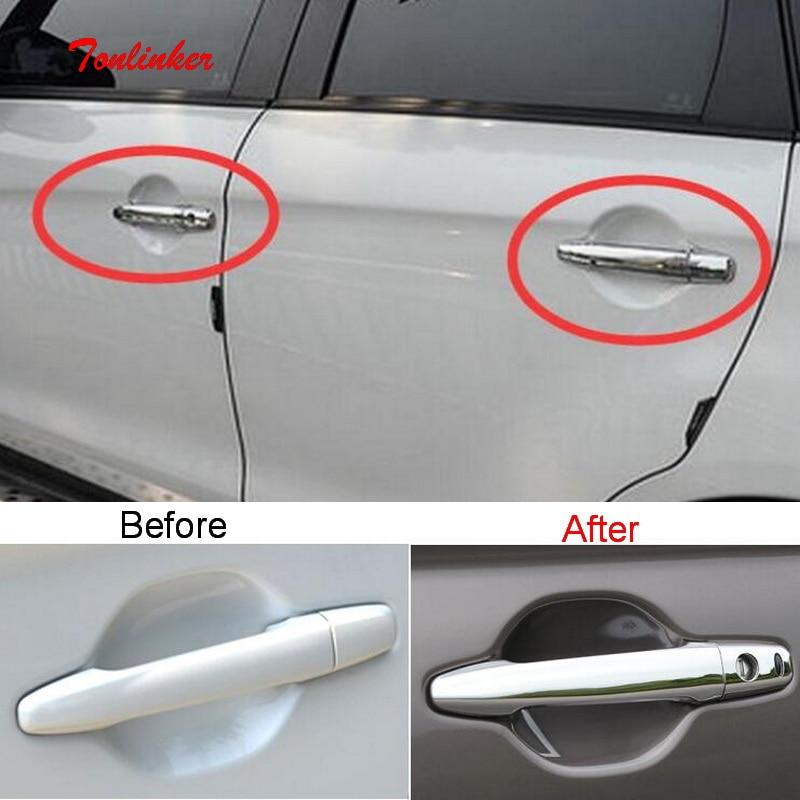 Tonliker Exteriör Dörrhandtag Täckklistermärken för Mitsubishi Outlander 2013-19 Bilstil 8 st ABS / rostfritt stål Cover klistermärken