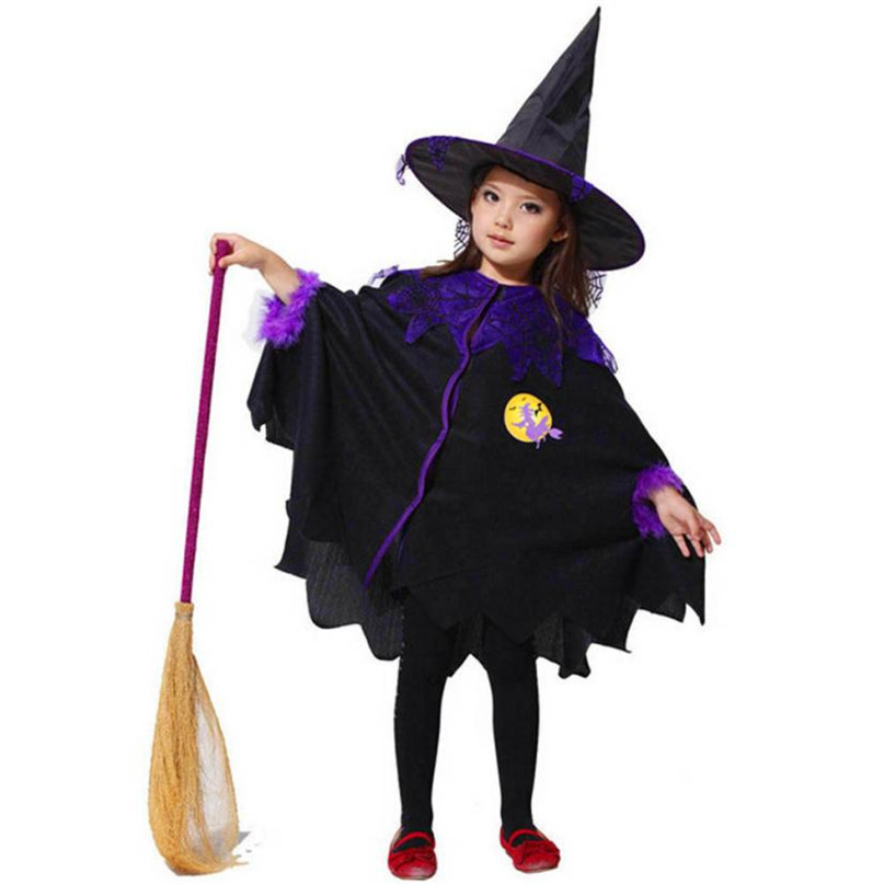 Black Color Toddler Kids Baby Girls Print Halloween Clothes Costume Dress Party Cloak+Hat Outfit Set Hot 2017 Dropshipping ST27