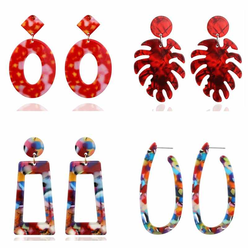 Vintage Geometric Statement Dangle Drop Earrings for Women Red Resin Acrylic Fashion ZA Party Wedding Jewelry Gift Multicolor
